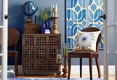 Indigo & Wood - Accents in a Natural Palette Wood Accents, Joss And Main, My Dream Home, Decorating Your Home, Shabby Chic, Framed Prints, Design Inspiration, House Design, Contemporary
