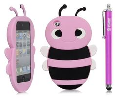 iSee Case (TM) Cartoon Bumble Bee Silicone Full Cover Case for iPod Touch 4 iTouch 4 +free iSeeCase Stylus (it4-Bee Light Pink Stylus) by
