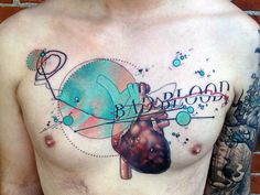 "I hate the ""bad blood"" part - bad blood, heart tattoo on chest by cody eich"