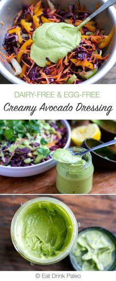 Creamy Avocado Dressing (Paleo, Dairy-free, Vegan) | http://eatdrinkpaleo.com.au/creamy-avocado-dressing-paleo-dairy-free-vegan/