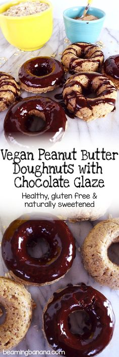 Vegan peanut butter doughnuts with chocolate glaze – soft, peanut buttery doughnuts topped with an amazingly silky chocolate glaze. This baked doughnut recipe is gluten free and sweetened naturally!