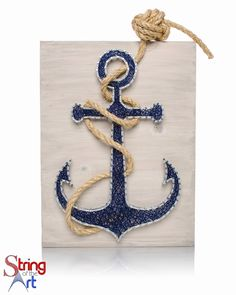 String Art Kit, DIY Crafts Kit, Anchor String Art. This beautiful Kit comes with all the highest quality embroidery floss, metalicc wire nails, instructions, a HAND sanded and HAND stained whitewashed wood board, and a pre-tied monkey fist knotted rope! Visit www.StringoftheArt.com Anchor String Art, Nautical Decor, Anchor Decor, Home Decor, Crafts Project, Crafts Idea, Nautical Idea