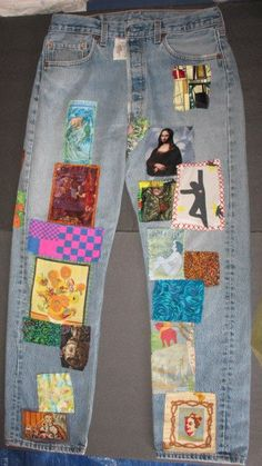 @Jayme Fair Romero DanielFamous Artist Patched Jeans by nameoftherose on Etsy, $80.00