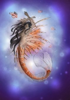 Continuing my mermaid series with the Lion fish! I thought this would be a fun one to do as there's so much going on with the fins and the tail. Can be found on my Redbubble page - http://www.redbubble.com/people/magic-mirror/works/21614612-lion?c=507151-mermaids&ref=work_carousel_work_collection_2  #fish #mermaid #lion #lionfish #orange #purple #sea #ocean #art #painting #paint #watercolour #digital #fantasy #magic