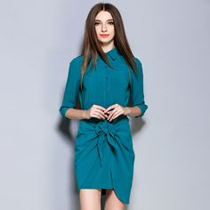NEW Slim Elegant Women Autumn doll collar Dress long Sleeve bowknot Ruched Wrap Front Women OL commuter Dresses 7820