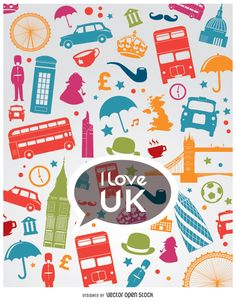 Colorful composition of I love United Kingdom. Many representative objects of Uk. Flat style vector icons, you can use it as entire composition or just