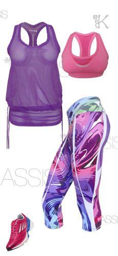 look de capri estampado exclusivo kassis, blusa de malla y top.