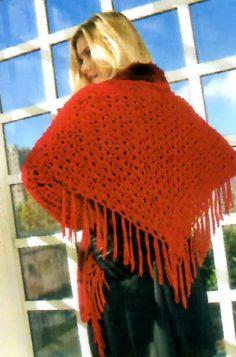 tejidos artesanales en crochet: poncho con piel