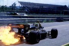 Ayrton Senna in the Lotus-Renault 98T at the Brazilian Grand Prix, 1986.
