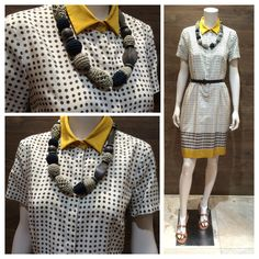 SS 2014 Weekend collection 100% silk polka dot silk dress with collar accessorized with a unique necklace featuring natural elements: wood and cotton   Max Mara white and tan leather sandals.  Prices on request.