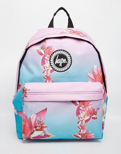 08deb6f60508 Hype Backpack in Pink and Blue Ombre with Digital Flower Print