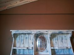 Painted headboard from old waterbed frame