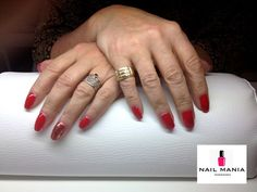 Classic red nails with golden touch - Mollon Pro colour by Salon Nail Mania Warszawa ul. Sienna 72A lok.09 tel. 603-819-755