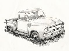 Old Ford Truck Drawing