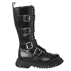 Black Leather TUK 4-Buckle Boots