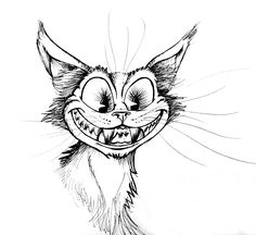 A drawing of a grinning, creepy cat.