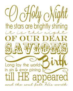 O Holy Night Printable Christmas subway art, Holiday printables, Christmas decor, Free printables