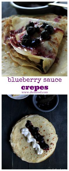 Soft and silky Crepes filled with sweet Honey Whipped Cream, accompanied by a warm Blueberry Sauce. What's not to love about this Mother's Day Brunch! Blueberry Sauce, Blueberry Recipes, Just Desserts, Delicious Desserts, Yummy Food, Crepes Filling, Breakfast Recipes, Dessert Recipes, Blueberry Breakfast