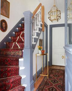 Painted Stairs that Make A Statement - Lovely Painted Stairs that Make A Statement, Should I Add A Carpet or Rug Runner to My Mountain House Staircase Staircase Runner, House Staircase, Stair Rug Runner, Staircase Ideas, Staircase Design, Painted Stairs, Wooden Stairs, Hallway Carpet Runners, Carpet Stairs