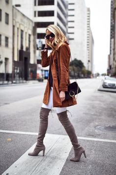 Fall Outfit, Tan Suede Trench Coat, Chloe Faye Handbag, Stuart Weitzman Highland Over-the-Knee Boots, White Skinny Jeans, Black Sweater