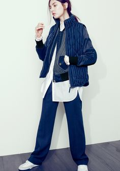 J.Crew Collection wide-leg trouser, excursion vest in pinstripe, and endless shirt.