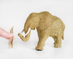 Mama African Elephant Safari Gold Glitter Critter for Jungle Baby Showers, Nursery Decor, Sparkly Wedding Decorations, Fun Table Centerpiece Wedding Rings Simple, Trendy Wedding, Glitter Critters, Diy Centerpieces, African Elephant, Gold Glitter, Wedding Table, Nursery Decor, Safari