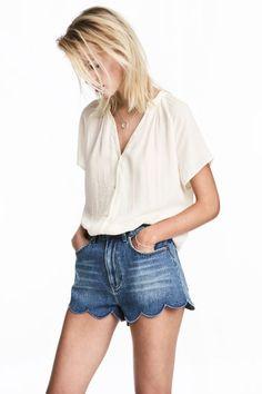 V Yakalı Bluz - Beyaz - Ladies | H&M TR