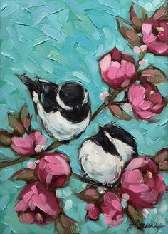 Reserved for Rebschaefer. Chickadee and Floral by LaveryART