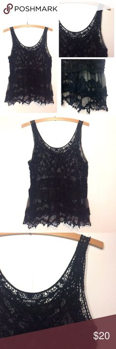 ✨1 HOUR SALE!✨Express | Black Boho Lace Tank Express boho style lace tank. Super cute! Unlined. Body: 100% nylon. Decoration: 100% cotton. Preloved. Size Small. If you have any questions please ask before buying. •Colors may vary slightly from pictures• Express Tops