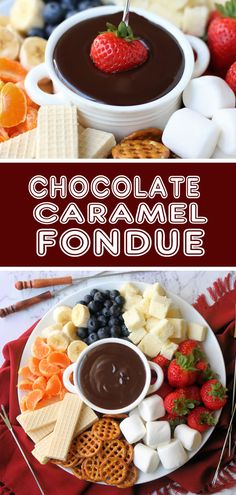 RECIPE: 4 Ingredient Chocolate Caramel Fondue With Marsala Cooking Wine - - This rich and dreamy fondue is the perfect dessert to entertain with! Made with only 4 ingredients we guarantee you and your guests won't be able to put down the fondue fork. Dessert Dips, Köstliche Desserts, Delicious Desserts, Dessert Recipes, Dips Für Fondue, Fondue Party, Fondue Ideas, The Melting Pot, Easy Chocolate Fondue Recipe