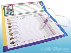 This durable cookie clipboard made of recycled cardboard and colorful duct tape is a great Girl Scout Cookie order-taking tool. Its stiff backing makes it practical for going door to door. Some very savvy cookie sellers make one to leave behind at each parent's office. They customize their clipboards to include a photo of themselves and a description of their Girl Scout Cookie goal.