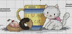 Cat Cross Stitches, Cross Stitch Charts, Cross Stitching, Cross Stitch Patterns, Blackwork Embroidery, Cross Stitch Embroidery, Hello Kitty Wallpaper, Beaded Cross Stitch, Cat Birthday