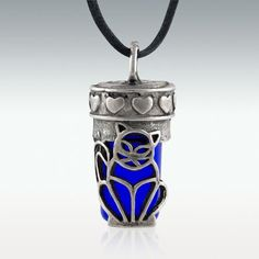 Cat Cobalt Glass Cremation Jewelry - Engravable Perfect