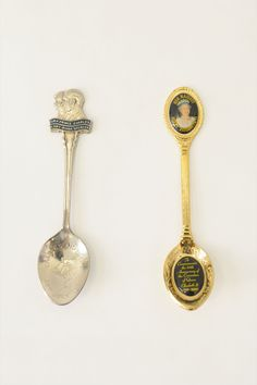 Silver and gold teaspoons - Prince Charles & Her Majesty