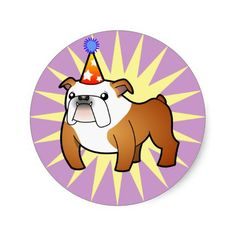Birthday Bulldog (red and white) Round Sticker