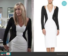 Ashley's black and white long sleeved colorblock dress on The Young and the Restless. Outfit Details: https://wornontv.net/57651/ #TheYoungandtheRestless Buy it at Neiman Marcus: http://wornon.tv/36090