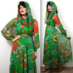 Vtg 70s Couture Albert Capraro Mod Psychedelic Poet Slv Sheer Goddess Maxi Dress | eBay