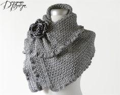 Crochet caplet cape silver gray shimmering wrap by DraganaDesign, $72.00