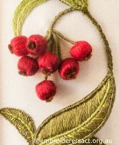 Stumpwork Embroidery Red Berry Detail from Left Hand Panel on Jane Nicholas Mirror 1 stitched by Lorna Loveland