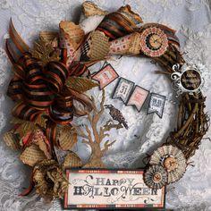 The Flamingo Chronicals: Authentique Halloween Wreath and Mini Album