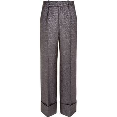 Racil Silver Brocade Leo Cropped Trousers ($495) ❤ liked on Polyvore featuring pants, capris, tuxedo pants, tuxedo suit, silver pants, lined pants and wide leg pants