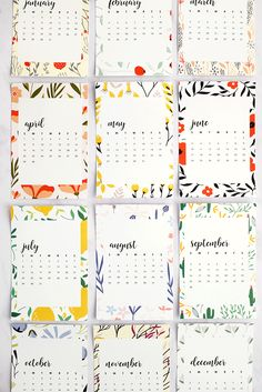 Free Printable 2018 Monthly Calendar - Alice and Lois Free Printable Calender, Diy Calender, Art Calendar, Calendar Design, Printable Planner, Free Printables, Creative Calendar, Calendar Ideas, Advent Calendar