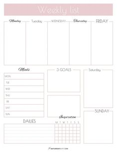 Weekly List Planner {Free Printable} Plan your weekly tasks and goals. Get your free weekly list planner printable now. Plan and upgrade your life one gift at a time with SaturdayGift. Planner Pdf, To Do Planner, Weekly Planner Template, Planner Sheets, Printable Planner Pages, Goals Planner, Planner Inserts, Free Printables, Calendar Printable
