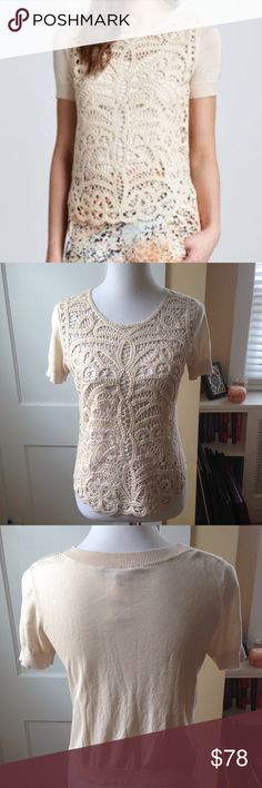 "BCBGMAXAZRIA Crocheted Lace Front Top NWOT This gorgeous crocheted lace front top in almond from BCBGMaxAzria will make perfect addition to your wardrobe! Dress up or down. Wear a camisole, tank, or thin fitted tee underneath to finish your look! Shown on a dress form with a 35"" bust. 85% acrylic, 15% polyester body, crocheted panel 55% silk, 45% cotton. New without tags, never worn and in perfect condition! BCBGMaxAzria Tops"