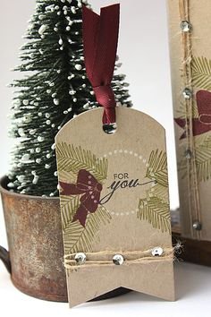 Bells Boughs Revisited - For You Gift Tag by Heather Nichols for Papertrey Ink (December Christmas Paper Crafts, Christmas Tag, Advent, Paper Tags, Kraft Paper, Handmade Gift Tags, Holiday Gift Tags, Theme Noel, Card Tags