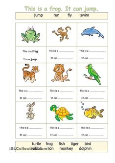 Animals - Can - English ESL Worksheets for distance learning and physical classrooms English Activities For Kids, Learning English For Kids, English Lessons For Kids, Kids English, Teaching English, Learn English, French Lessons, Spanish Lessons, Teaching Spanish