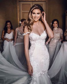 Our gorgeous Natalie Pack is a vision of beauty in her mermaid couture wedding gown - just look at the embroidered detailing to the bodice and tulle skirt. Western Wedding Dresses, Dream Wedding Dresses, Bridal Dresses, Bridesmaid Dresses, Perfect Wedding Dress, Bridesmaids, Belle Silhouette, Really Long Hair, Couture Wedding Gowns