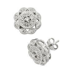 Sterling Silver 1/4-ct. T.W. Diamond Flower Stud Earrings, Women's, White