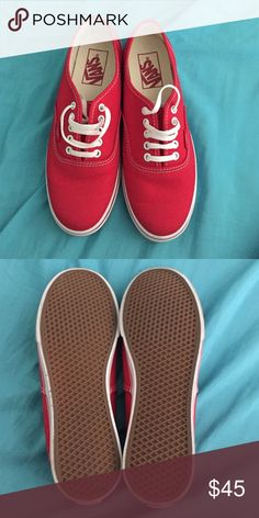 Red Vans Woman shoes. In perfect condition. Worn once. Box still available upon request. Vans Shoes Sneakers
