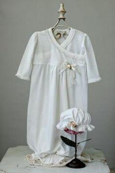 Romantique Bebe Knit Gown and Lace Trim W/ Cap